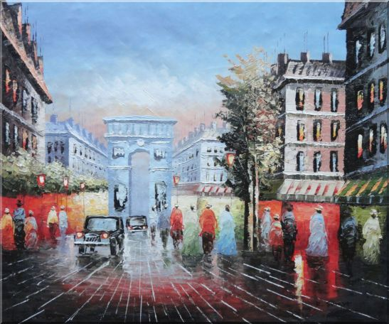 Pedestrian Cross Paris Arc de Triumph Oil Painting Cityscape France Impressionism 20 x 24 Inches