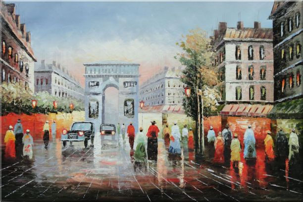 Pedestrian Cross Paris Arc De Triumph Oil Painting Cityscape France Impressionism 24 x 36 Inches