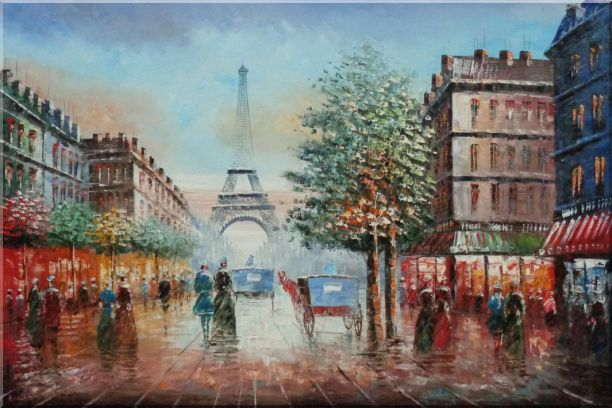 Impressionist Paris Street Toward to Eiffel Tower Cityscape Oil Painting France Impressionism 24 x 36 Inches