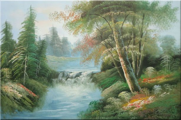 Waterfall and Forest Landscape View Oil Painting Naturalism 24 x 36 Inches