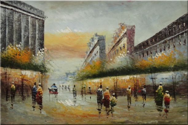Pedestrian Walking on Paris Street Oil Painting Cityscape France Impressionism 24 x 36 Inches