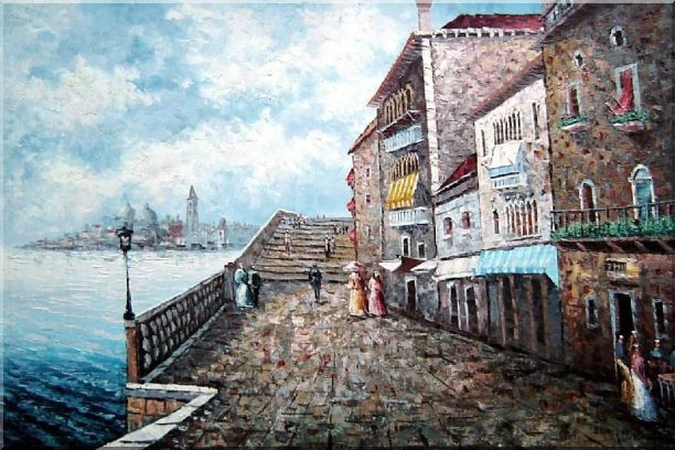 People Strolling On Venice Sidewalk Oil Painting Italy Naturalism 24 x 36 Inches