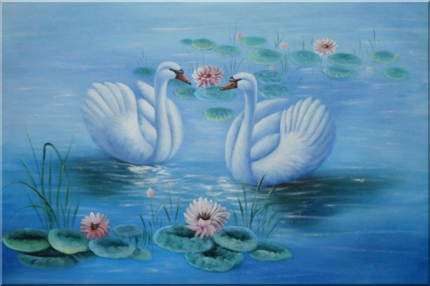 Lovely Pair of Swans in Pond around Pink Lilies Oil Painting Animal Naturalism 24 x 36 Inches