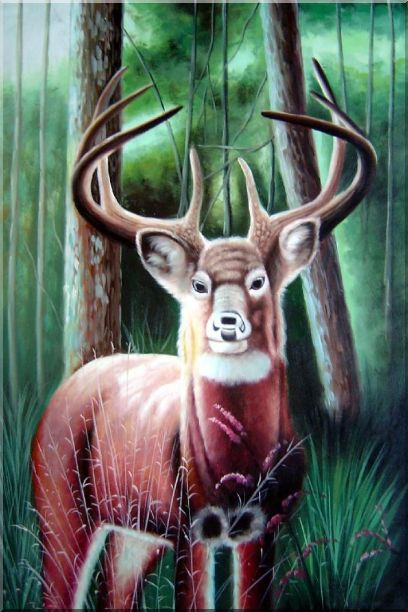 Deer in Forest Oil Painting Animal Naturalism 36 x 24 Inches