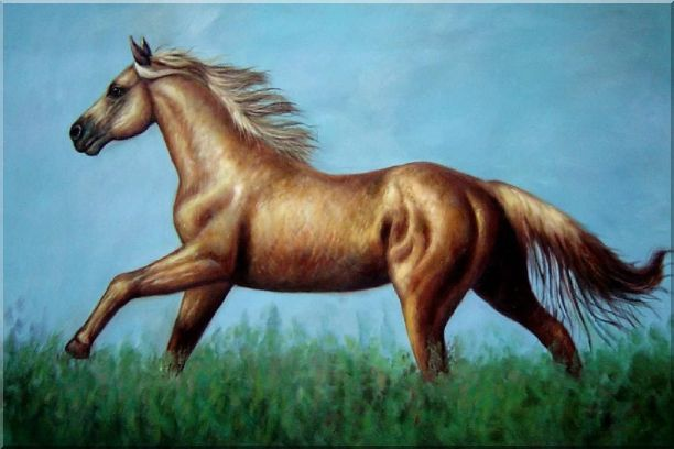 A Running Brown Horse in Green Field Oil Painting Animal Naturalism 24 x 36 Inches