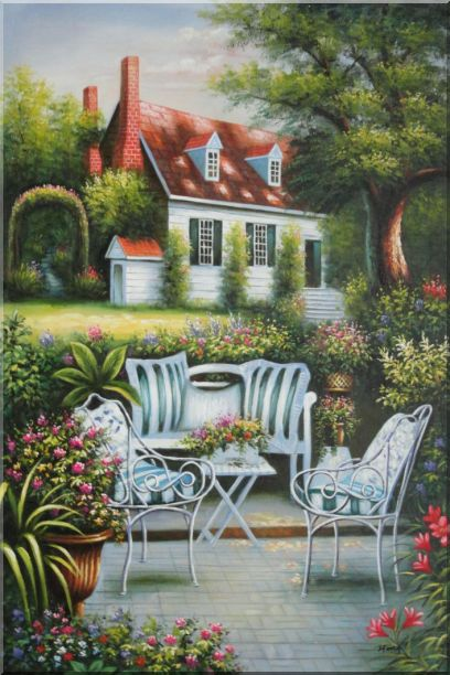 Chairs, Table and Flowers on Back Yard of Elegant Red-Roof House Oil Painting Garden Classic 36 x 24 Inches
