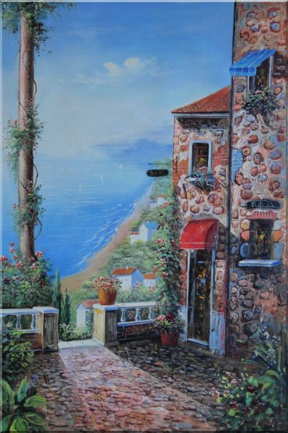 Stone House and Road of Mediterranean Village Oil Painting Naturalism 36 x 24 Inches