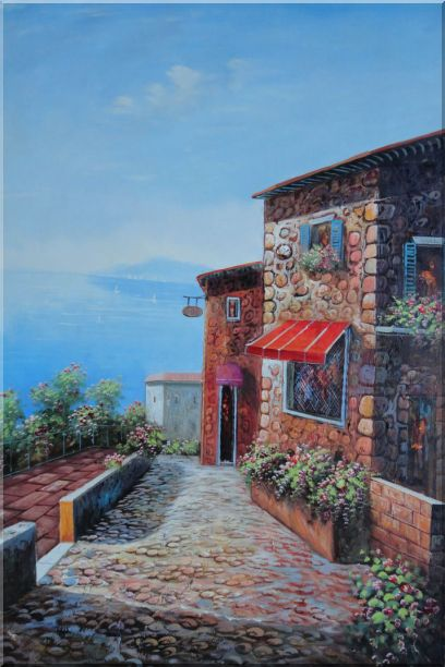 A Coastal Stone House in Greece Oil Painting Mediterranean Naturalism 36 x 24 Inches
