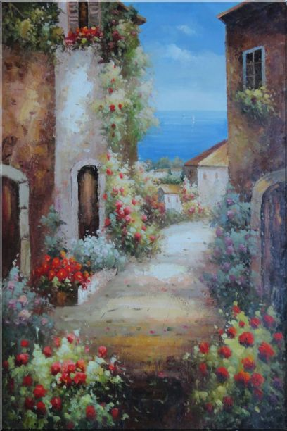 Mediterranean Alley With Flowers Oil Painting Naturalism 36 x 24 Inches
