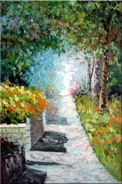 A Tranquil Path Through the Woods in a Garden Oil Painting France Impressionism 36 x 24 Inches