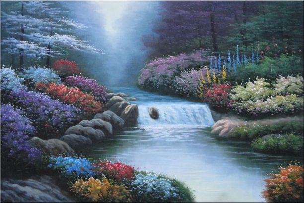 Water Stream Along Beautiful and Colorful Forest Oil Painting Landscape River Naturalism 24 x 36 Inches