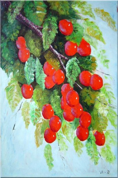 Tree with Red Fruit at Harvest time Oil Painting Naturalism 36 x 24 Inches