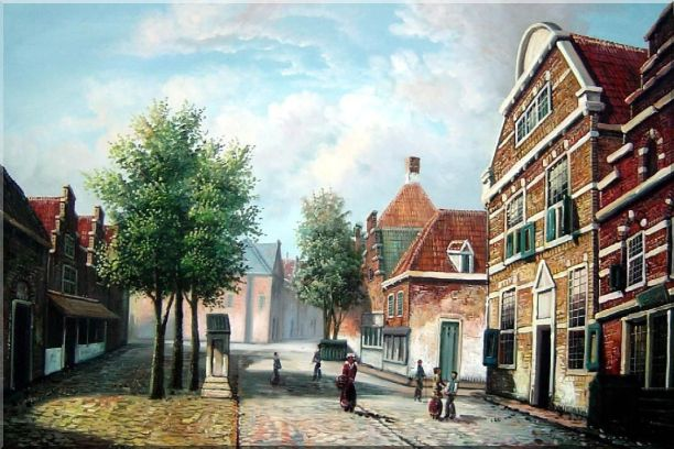 Dutch Village Street With Restful Atmosphere Oil Painting Classic 24 x 36 Inches