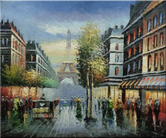 Paris Busy Street Scene in Early 19 Century Oil Painting Cityscape France Impressionism 20 x 24 Inches