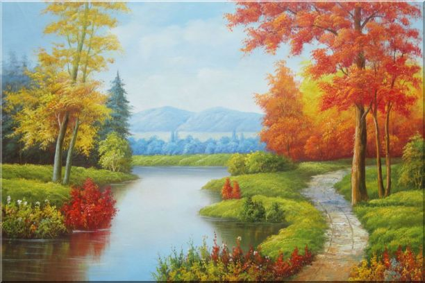 Gorgeous Riverside Scenery in Golden Autumn Oil Painting Landscape Tree Naturalism 24 x 36 Inches