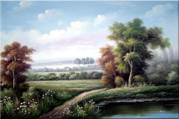 Walkway by Wild Pond Oil Painting Landscape River Classic 24 x 36 Inches