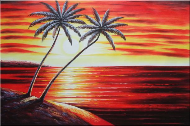 Coastal Palm Trees at Sunset in Hawaii Oil Painting Seascape America Naturalism 24 x 36 Inches