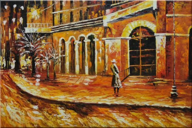 At the Hall Gate Oil Painting Cityscape Modern 24 x 36 Inches