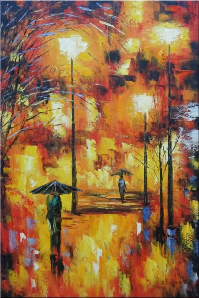 Walking On Rainy Day Street at Night Oil Painting Cityscape Modern 36 x 24 Inches
