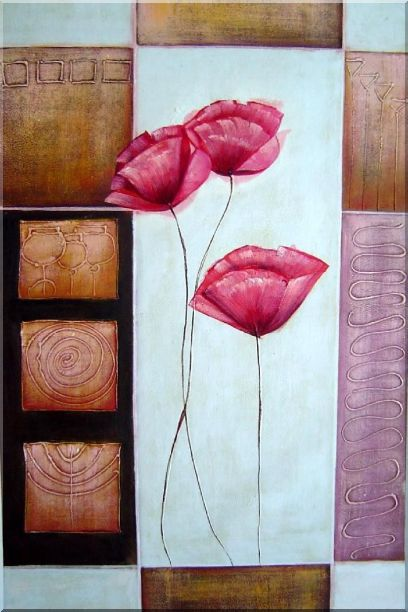 Pink Poppies in White, Pink and Brown Setting - 2 Canvas Set 2-canvas-set,still-life,flower decorative  36 x 48 inches