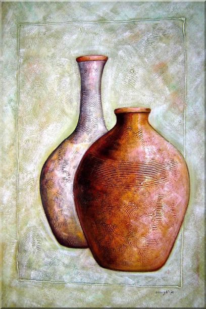 Two Brown Jars Oil Painting Still Life Modern 36 x 24 Inches