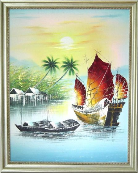 Beachside Palm Trees, Boats Under Golden Sunset Oil Painting Naturalism 20 x 16 Inches