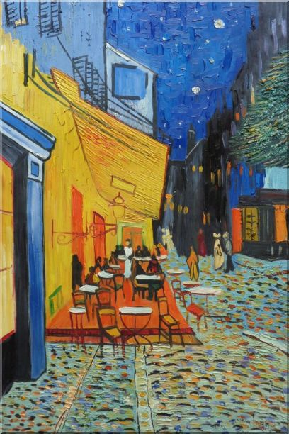 Cafe Terrace At Night, Van Gogh Masterpiece Oil Painting Cityscape France Post Impressionism 36 x 24 Inches