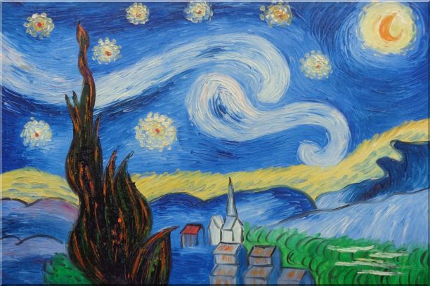 The Starry Night, Van Gogh Reproduction Oil Painting Landscape Post Impressionism 24 x 36 Inches