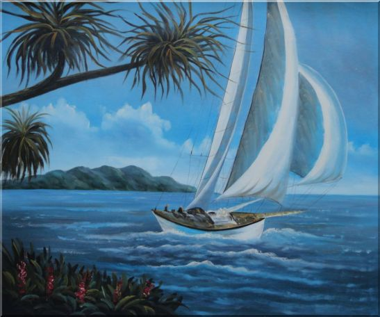 Sailing near Coast with Palm Trees Oil Painting Boat Boating Naturalism 20 x 24 Inches
