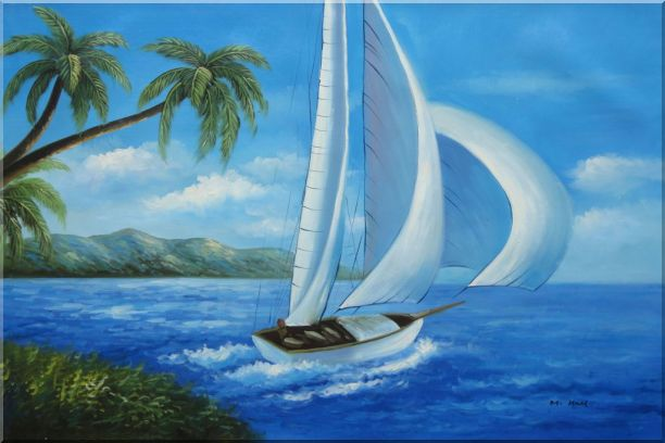 Sailing near Coast with Palm Trees Oil Painting Boat Boating Naturalism 24 x 36 Inches