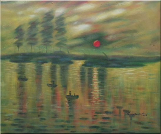 Impression Sunrise, Claude Monet Reproduction Oil Painting Seascape France Impressionism 20 x 24 Inches