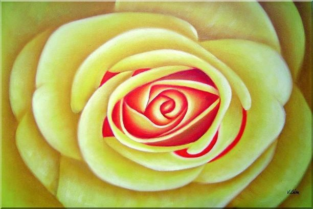 Yellow Rose Oil Painting Flower Naturalism 24 x 36 Inches