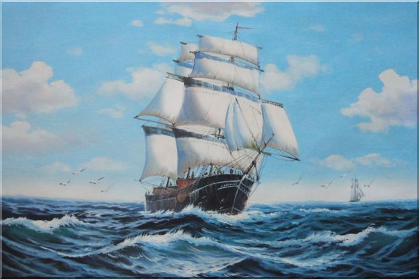 Big Fully Rigged Masted Ship Sailing on the Ocean Oil Painting Boat Classic 24 x 36 Inches