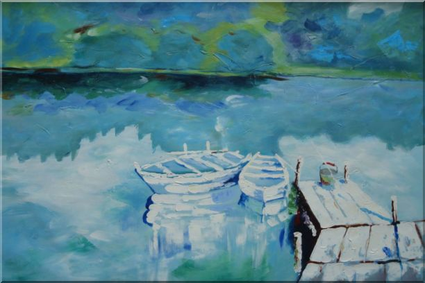Two Small White Boats on the Deck Oil Painting Impressionism 24 x 36 Inches