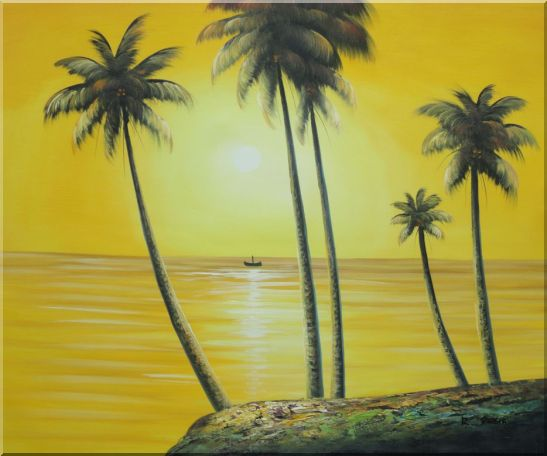 Beachside Palm Trees Under Golden Sunset Oil Painting Seascape America Naturalism 20 x 24 Inches