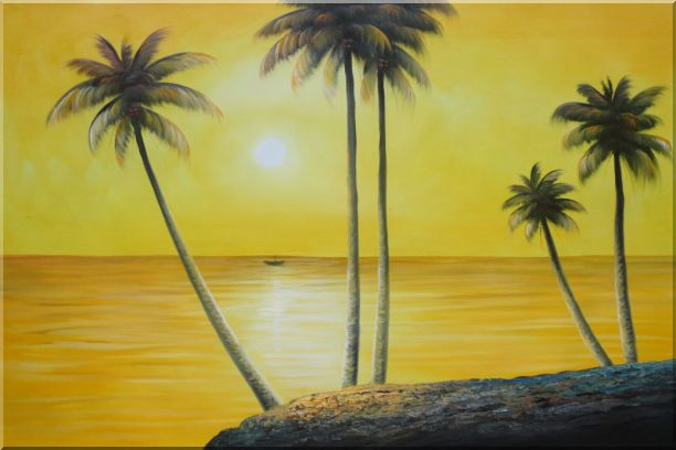 Beachside Palm Trees Under Golden Sunset Oil Painting Seascape America Naturalism 24 x 36 Inches