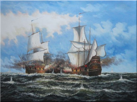 Two Warships Engaged in the Sea Battle Oil Painting Boat Classic 36 x 48 Inches