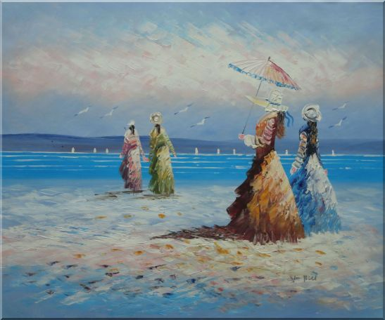 Girls, Seagulls and Beach Oil Painting Portraits Woman Impressionism 20 x 24 Inches