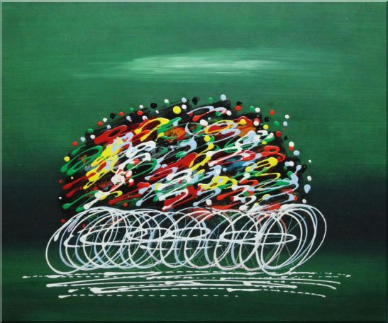 Abstract Cyclic Race Oil Painting Portraits Cycling Modern 20 x 24 Inches