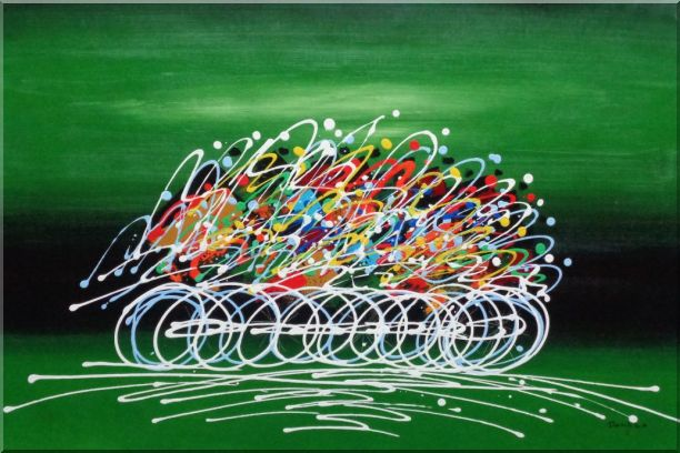 Cycling Race in Green Background Oil Painting Portraits Modern 24 x 36 Inches