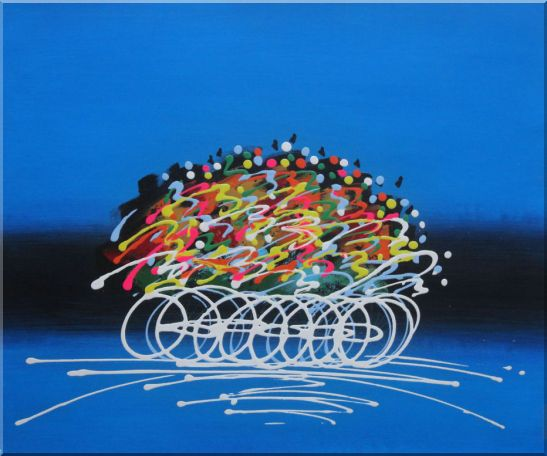 Abstract Cyclic Race Oil Painting - 2 Canvas Set 2-canvas-set,portraits, cycling modern  20 x 48 inches