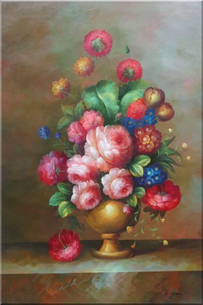Blooming Colorful Flowers in a Vase Oil Painting Still Life Bouquet Classic 36 x 24 Inches