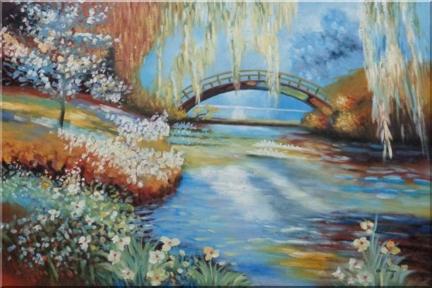 Flowers around River Bridge Oil Painting Landscape Impressionism 24 x 36 Inches