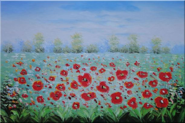 A Sea Of Red Poppy in Spring Oil Painting Landscape Field Impressionism 24 x 36 Inches