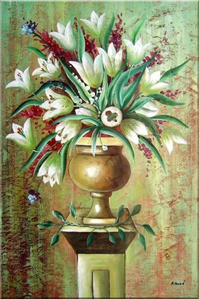 Red, White Tulip Flowers in Vase on Pillar Oil Painting Still Life Bouquet Modern 36 x 24 Inches