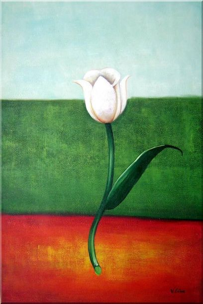 White Tulip in Blue, Green, Red Background Oil Painting Flower Modern 36 x 24 Inches