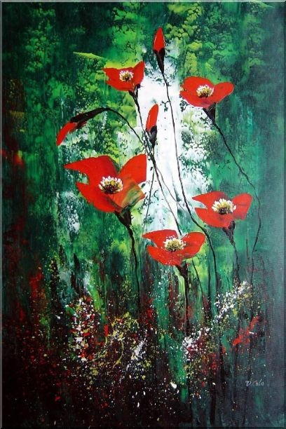 Magnificent Red Flowers Sing in Green Oil Painting Decorative 36 x 24 Inches