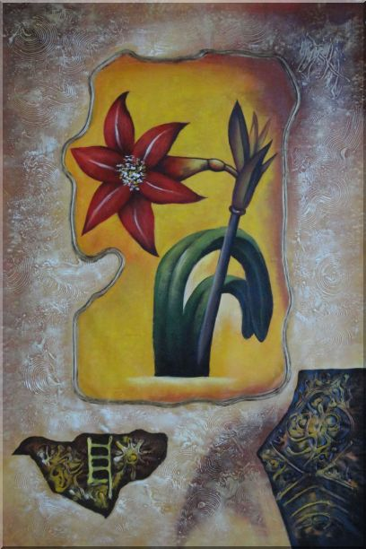 Abstract Modern Red Lily Flower Oil Painting 36 x 24 Inches