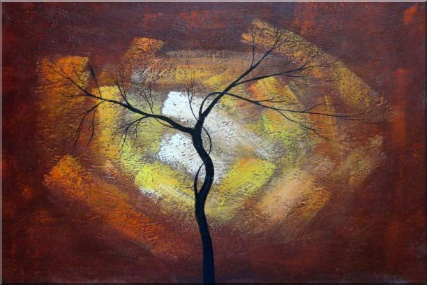 Modern Black Tree in Red, Brown Sky Oil Painting Landscape 24 x 36 Inches