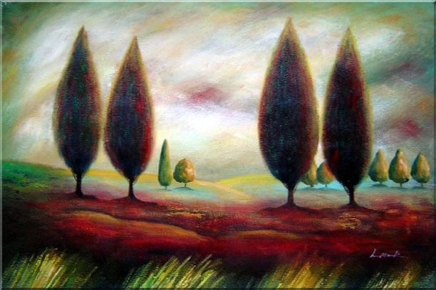 Trees in Wilderness Oil Painting Landscape Modern 24 x 36 Inches